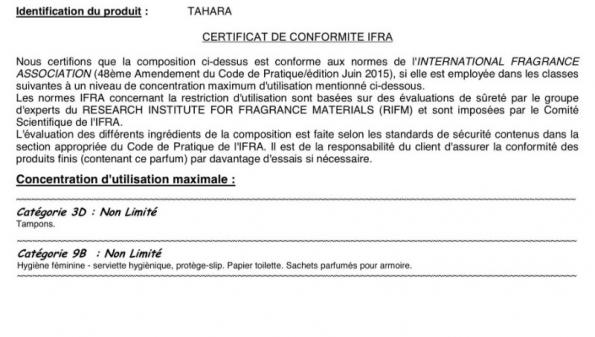 Certificat IFRA de nos musc tahara